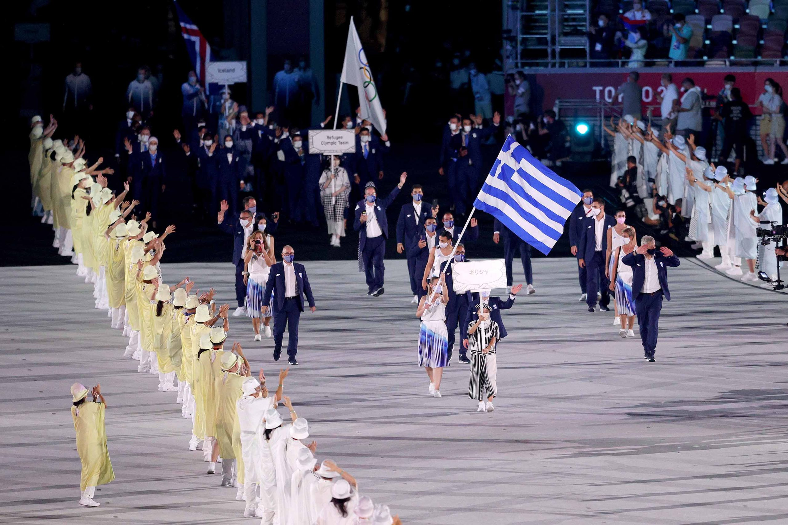 The parade of athletes is underway at the Tokyo 2020 Opening Ceremony