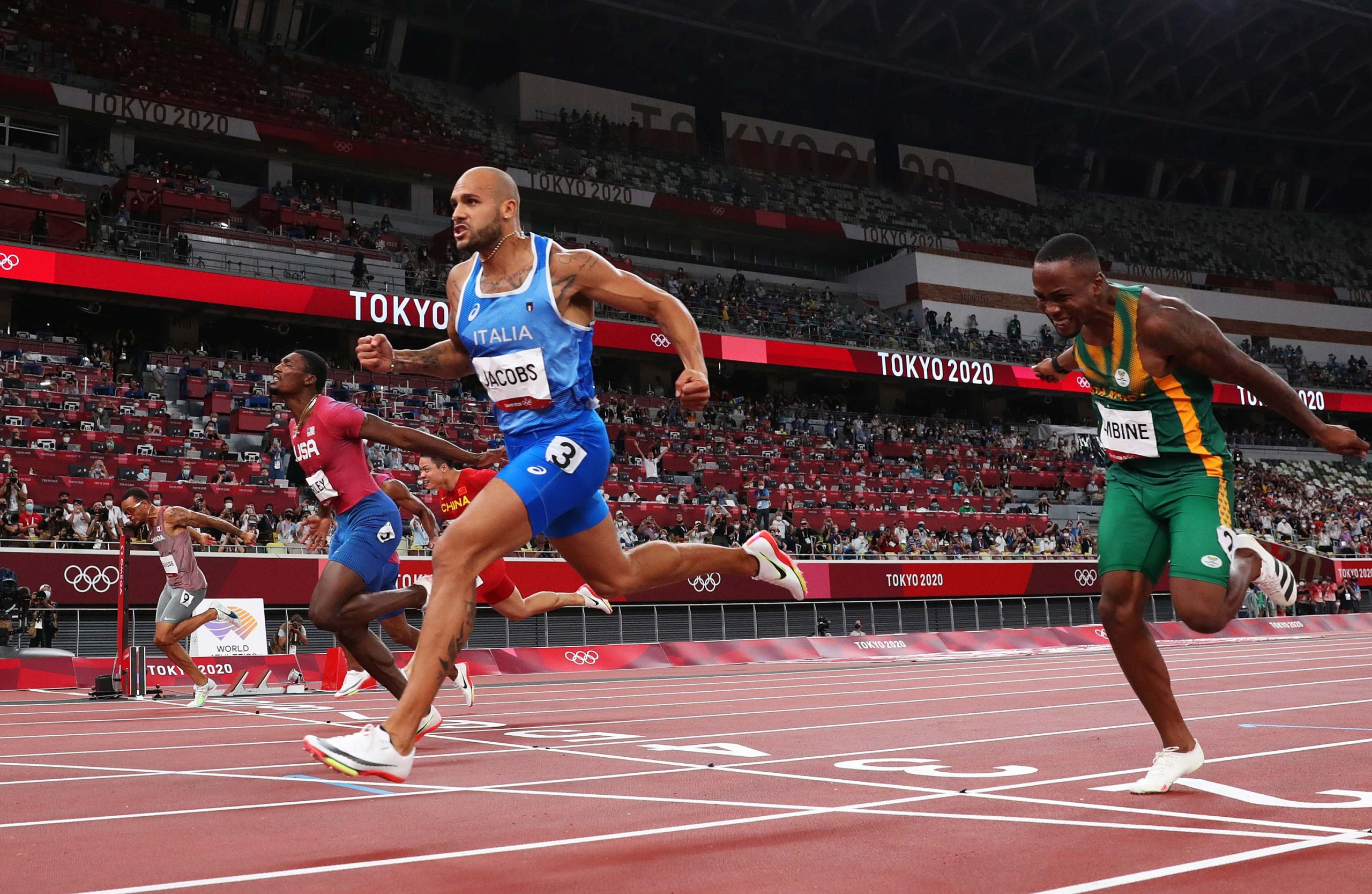 Italy's Lamont Marcell Jacobs wins gold in the men's 100 meter final